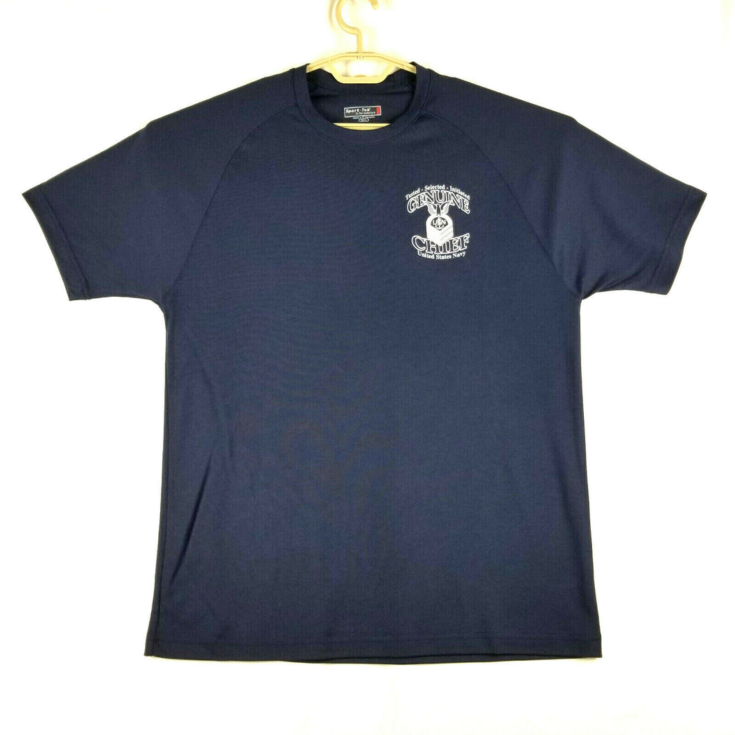 Sport Tek Mens Quick Dry T-Shirt - L 42-44 - Navy Blue - US Navy HSC-25 Chiefs