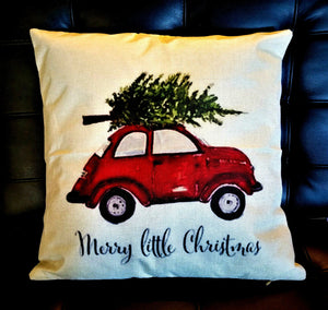 """Merry Little Christmas"" Car Pillow Case/Cushion Cover Only - Tan - 17"" x 17"""