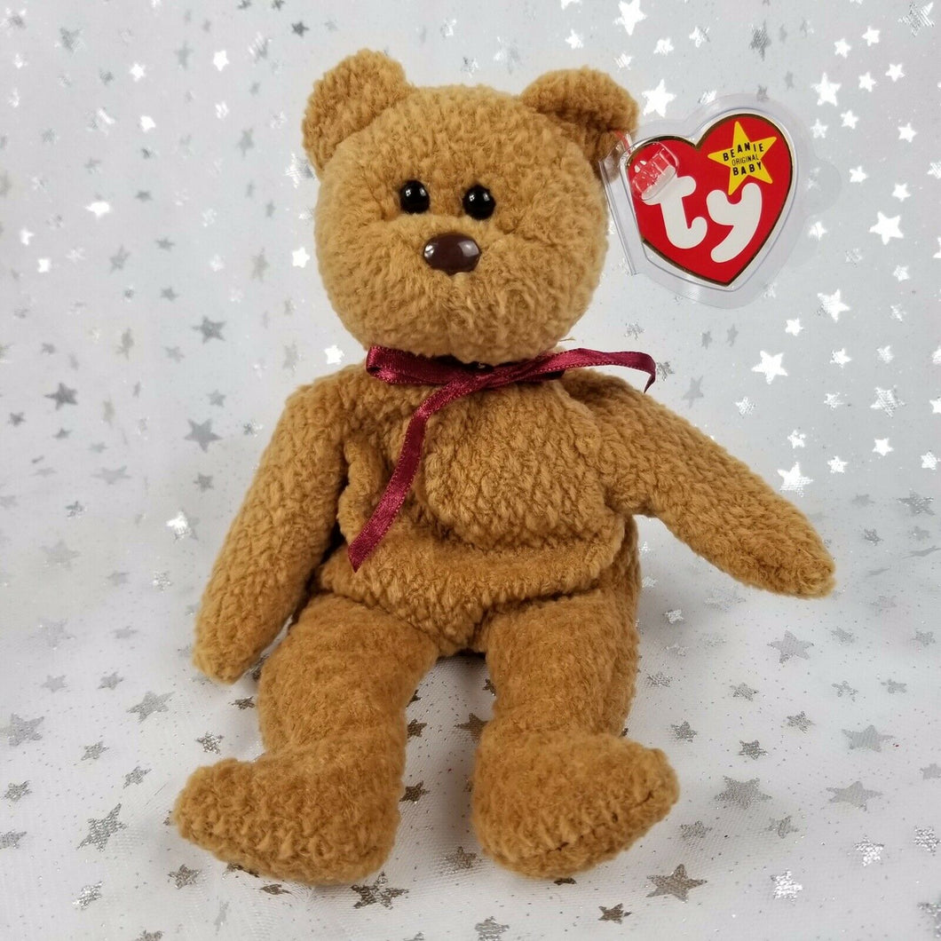 Vintage Original TY Beanie Baby-Curly Bear-Brown 8.75