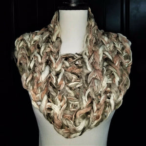 "Womens Rose Yarn Infinity Scarf - Rose Gray White - 32"" Around"