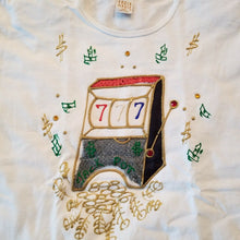 "Karla Marie Womens ""Lucky 7s Slot Machine"" T-shirt w/Rhinestones"