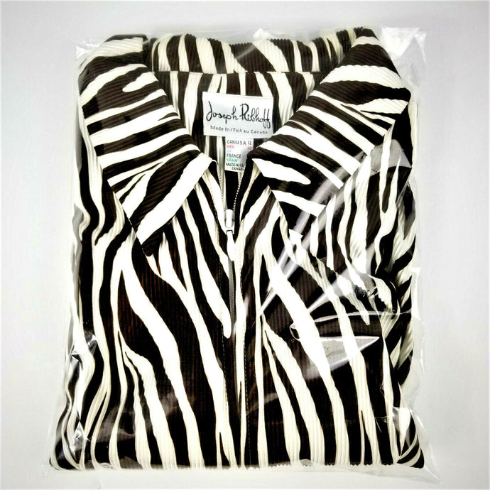 Joseph Ribkoff Womens Jacket 2-Way Zipper Brown White Zebra Stripe Size 12