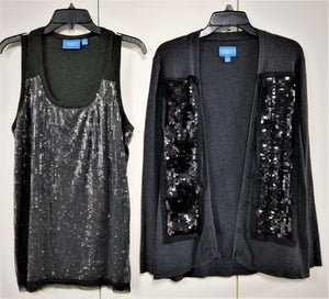 Simply Vera Vera Wang Glitzy 2-Pc Cardigan Sweater & Tank Top Set-Gray-L
