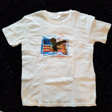 """Land of the Free - Home of the Brave"" Imprinted Patriotic T-shirt - White - L"