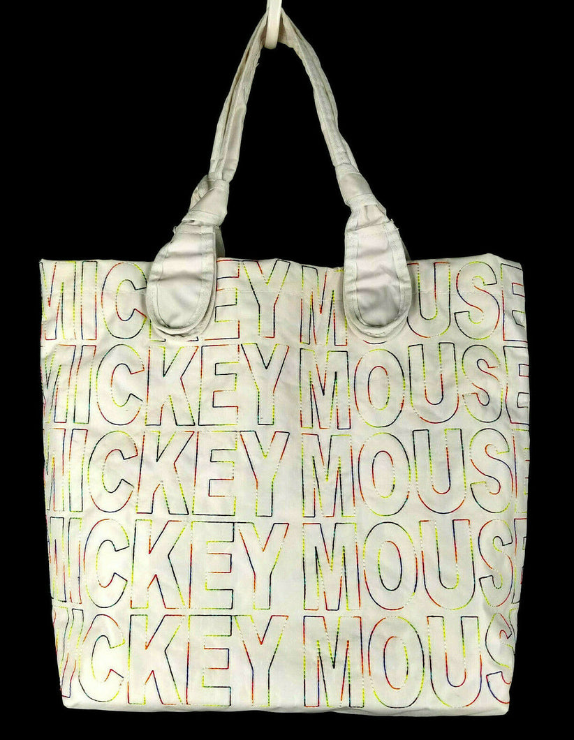 Disney Parks Mickey Mouse Tote/Utility/Diaper Bag - White w/Colorful Stitch Text