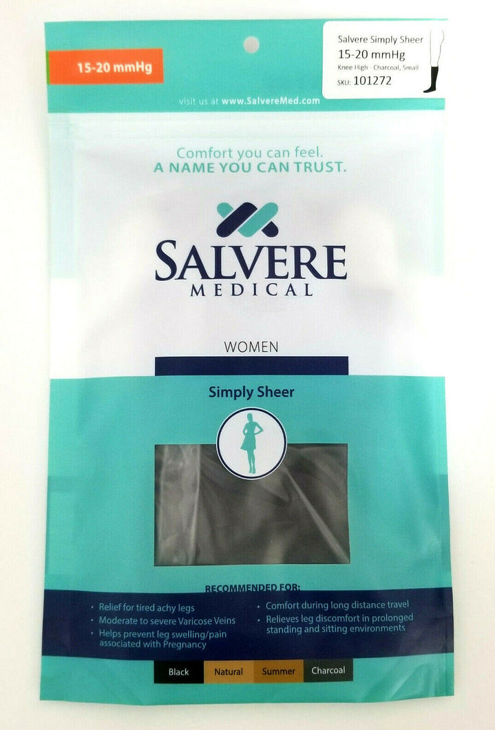 Salvere Womens Knee High Compression Hose 15-20 mmHg Small 101272 - Charcoal NEW