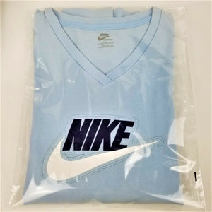 NIKE Womens Long Sleeve V-Neck T-Shirt - Light Blue - L 12-14