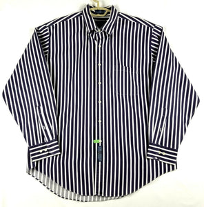 Windsor Mens Button Down Shirt Long Sleeve - Blue White Stripe Size 17  34/35