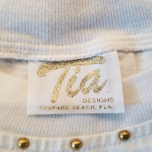 Tia Womens Embroidered Sea Shells T-shirt - Med Very Unique Classy Feminine.