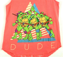 Womens / Girls Ninja Turtles Lace Tank Top - Coral - Size S - Great Graphics!