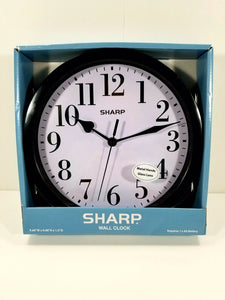 "Sharp Wall Clock - Black w/White Face - 9 5/8"" Diameter - Battery Operated"