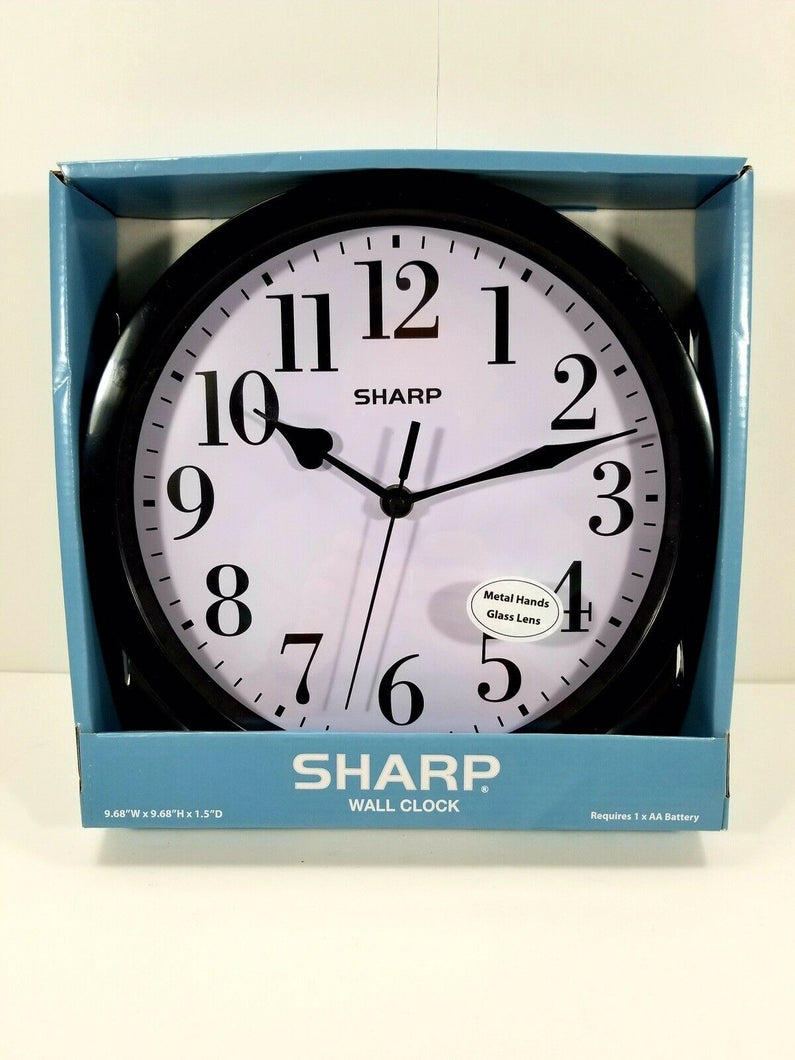 Sharp Wall Clock - Black w/White Face - 9 5/8