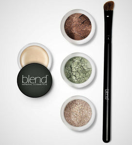Blend Mineral Cosmetics Warm Eyes 5-Piece Set - 3 Shimmers 1 Primer & Brush -NEW