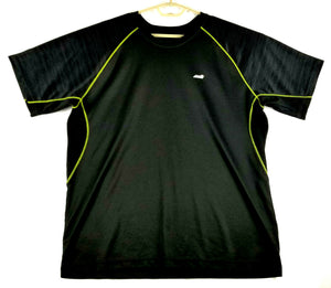 Avia Mens Performance Shirt - Black w/Green Trim - L - Tagless collar - Stretchy