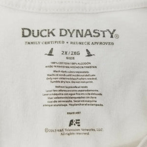 "Duck Dynasty Mens T-Shirt -White - 2X - ""RELEASE the Quackin'"" -Redneck Approved"