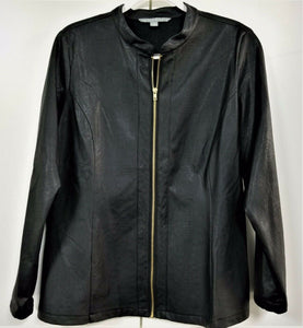 VALERIE STEVENS Womens Long Sleeve Textured Solid Black Zip-up Jacket-Size 14