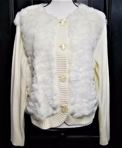 Lisa Int'l Womens Faux Fur Short Bomber Jacket-Button Up-Ivory-XL-NEW w/Tags