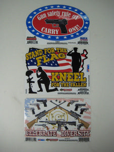 Decals Pro Guns N American Flag- 3 Patriotic Stickers-New