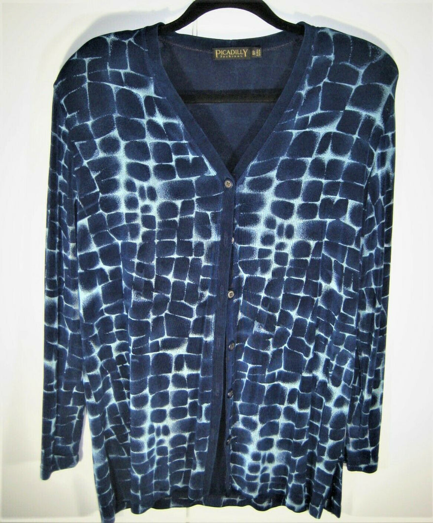 Picadilly Fashions Womens Cardigan Sweater Blue Long Sleeve Button Up Size S