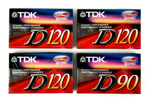 4-Pack TDK D120 Blank Audio Cassette Tapes High Output IEC I/Type I -NEW Sealed!