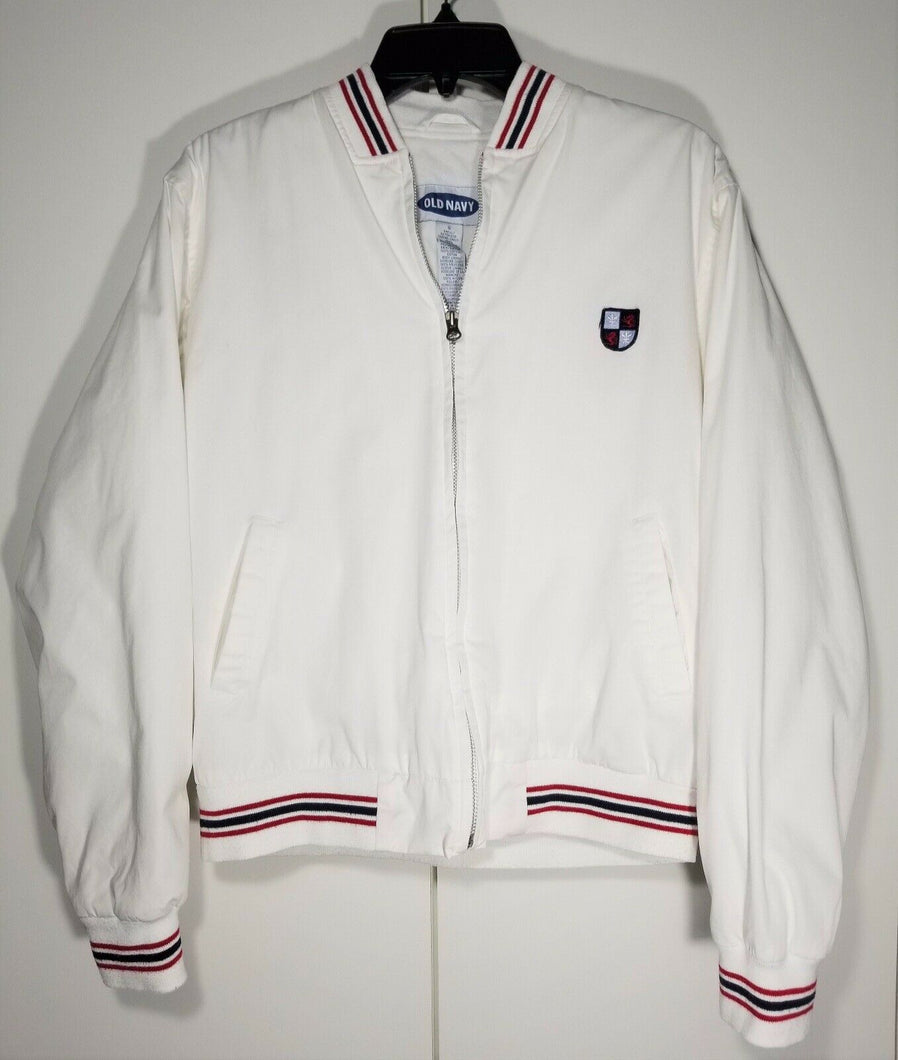 Old Navy Varsity Jacket - White with Stripes - Sz S-Women's-Never Worn.