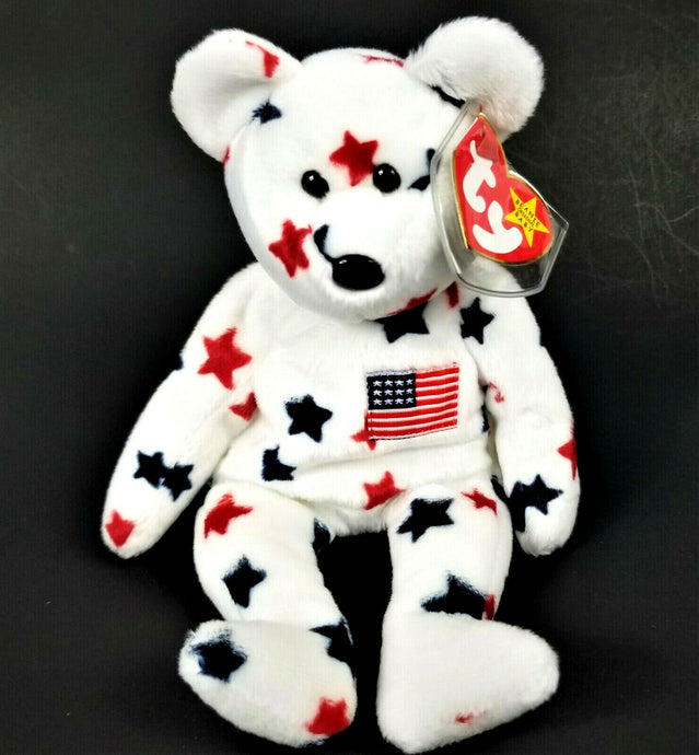 Vintage Original TY Beanie Baby-1998 Glory Bear-White Red Blue 9
