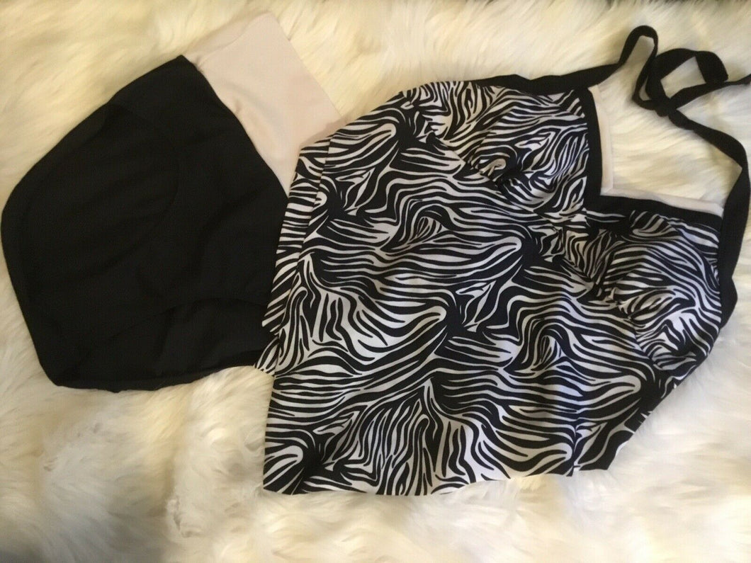 Mod Bod Swim, Swimsuit-XL. Style Zena, Black And White Zebra Print.