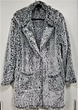 Rene Rofe Womens Plush Soft Furry Hooded Coat-Black & White-XL-NEW w/ Tags