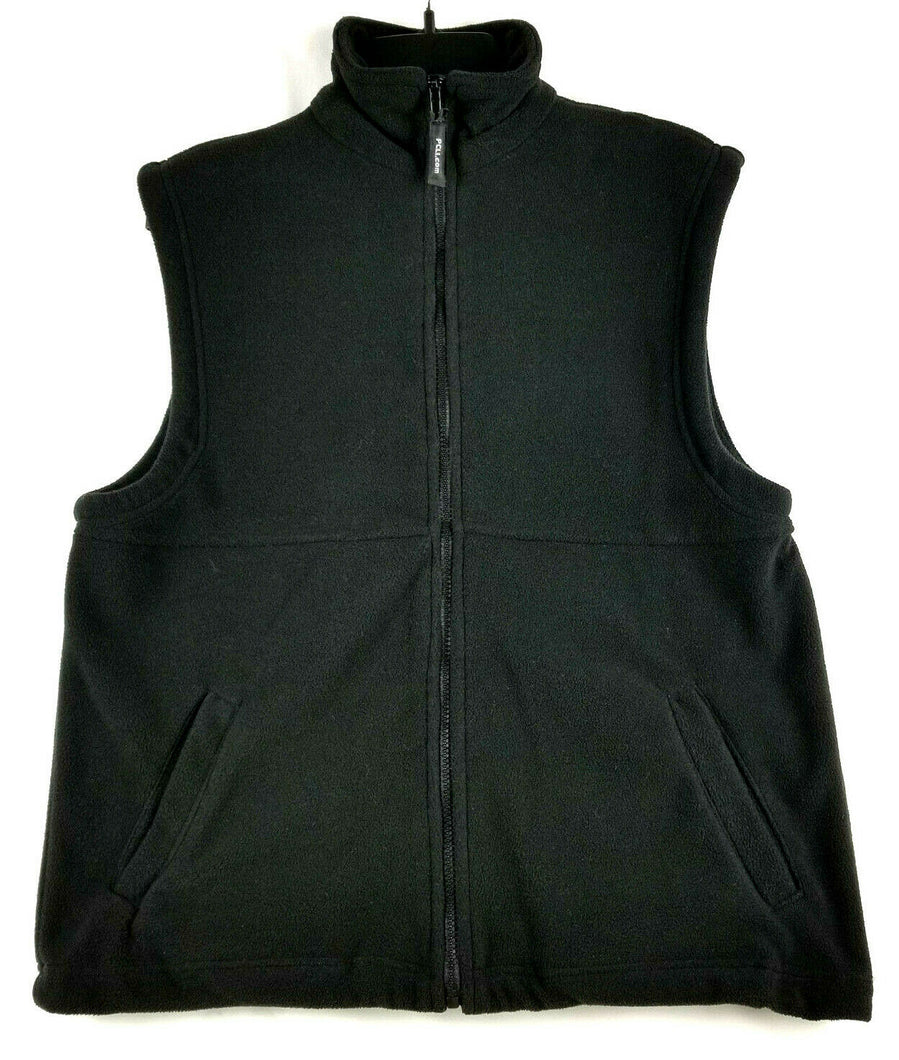 Mens Fleece Vest -Black - M -Collar -Full Zip Up