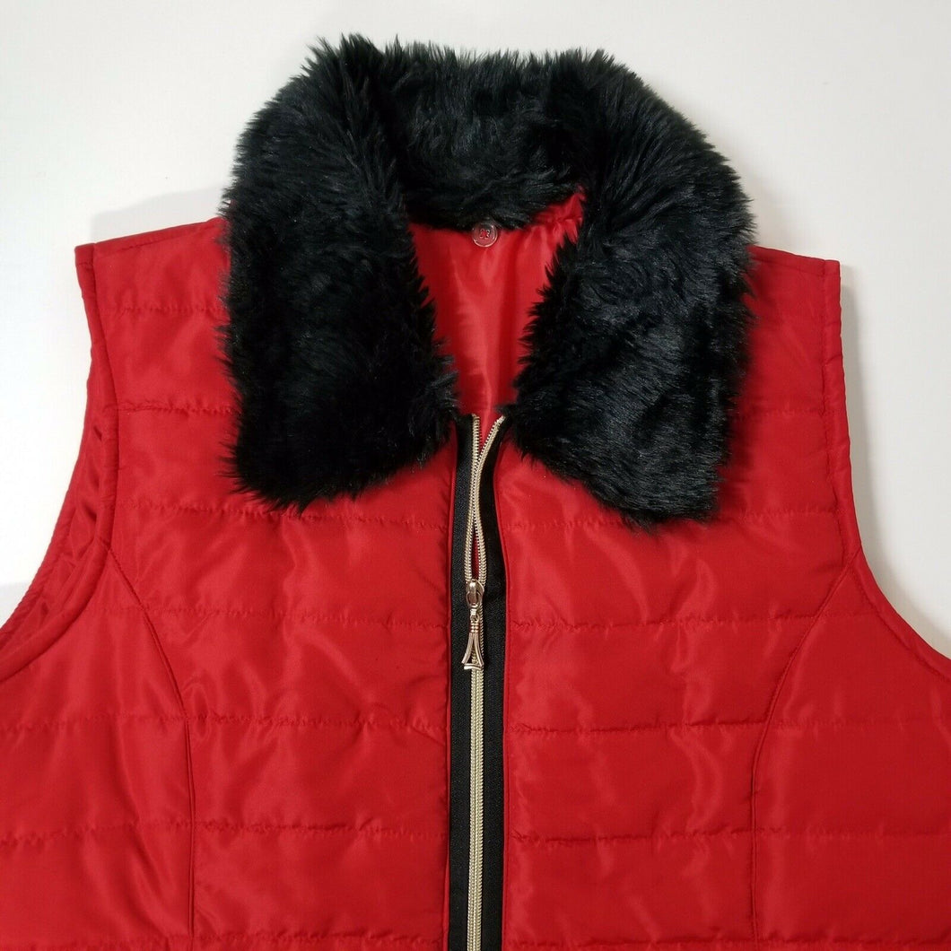 HANNAH Womens Puffy Ski/Snowboard Vest w/Furry Collar-Red-Zip-Lightweight-XL