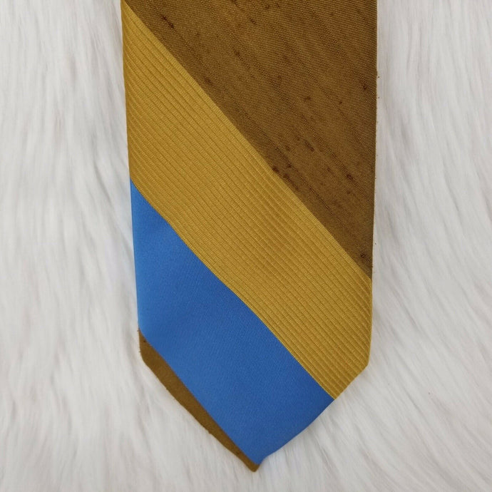 Straus Bold Stripes Necktie by DAMON-100% Polyester-Blue Gold Brown - 56