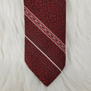 KETCH Necktie 100% Polyester - Red Maroon White Gray Textured Stripes-56""