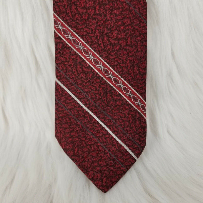 KETCH Necktie 100% Polyester - Red Maroon White Gray Textured Stripes-56