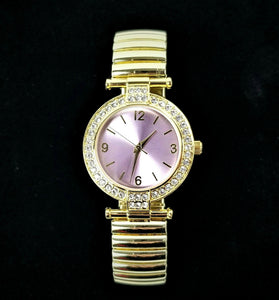 Womens Glitzy Bling Rhinestone Watch - Adjustable Flex Band - Gold Color - NWOT