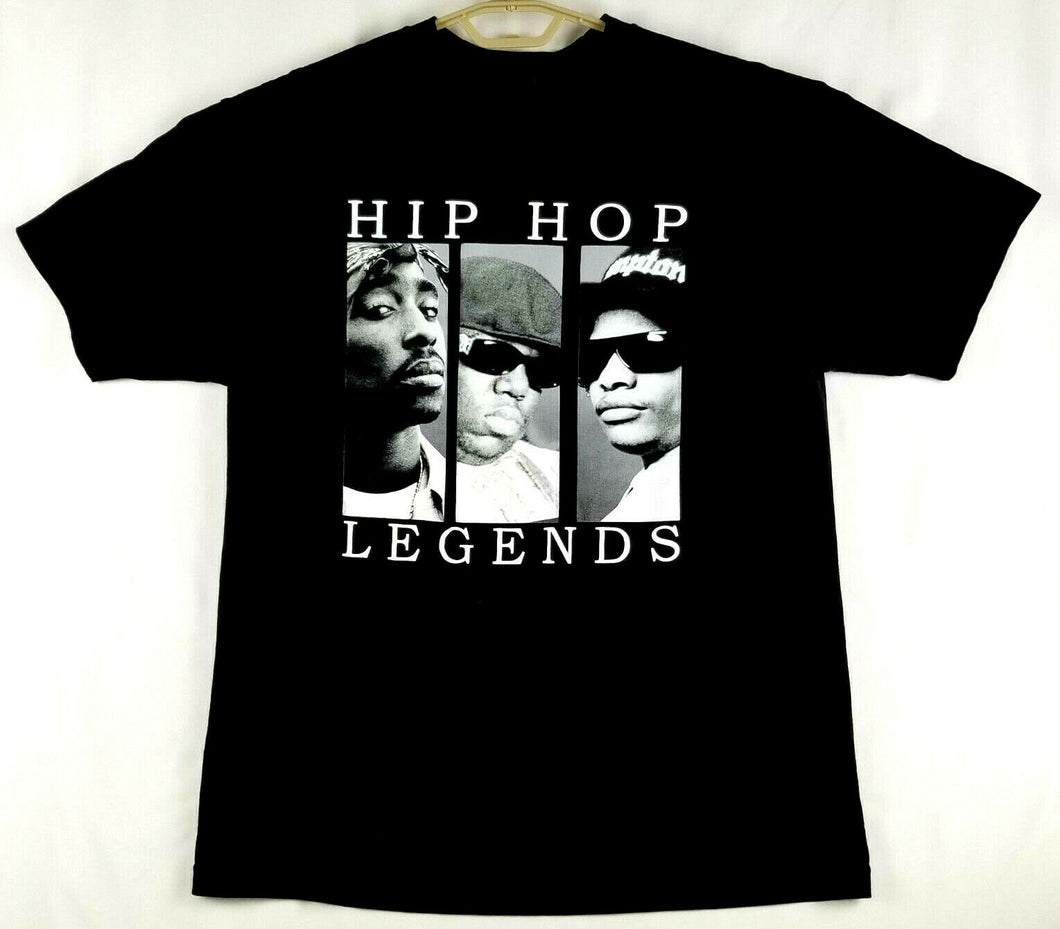 Hip Hop Legends Mens T-Shirt - Black w/White imprint - L - Tupac Biggie EasyE