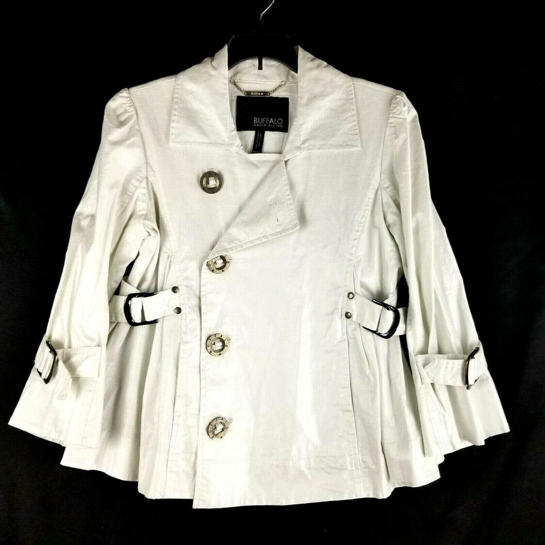 David Bitton BUFFALO Womens Jacket/Blazer - M - Shimmer Metallic White - NWOT