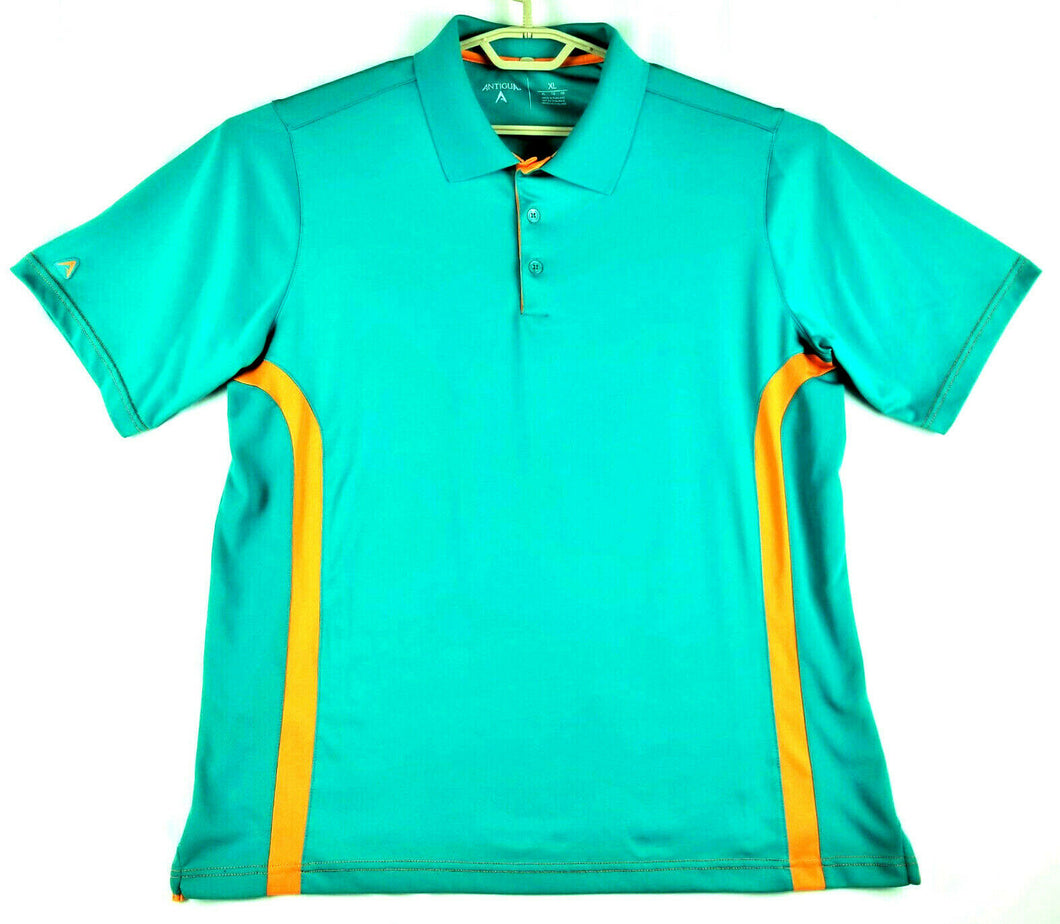 Antigua Mens Golf Polo Shirt - Teal w/Orange Trim - XL Tall - Polyester - NICE!