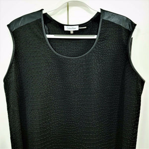 Calvin Klein Womens Stretchy Fashion Tank Top - Aligator Texture - Black - XL