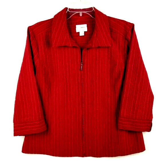Christopher & Banks Womens Shirt/Jacket - L - Red - 3/4 Sleeve - Stretchy -Zip