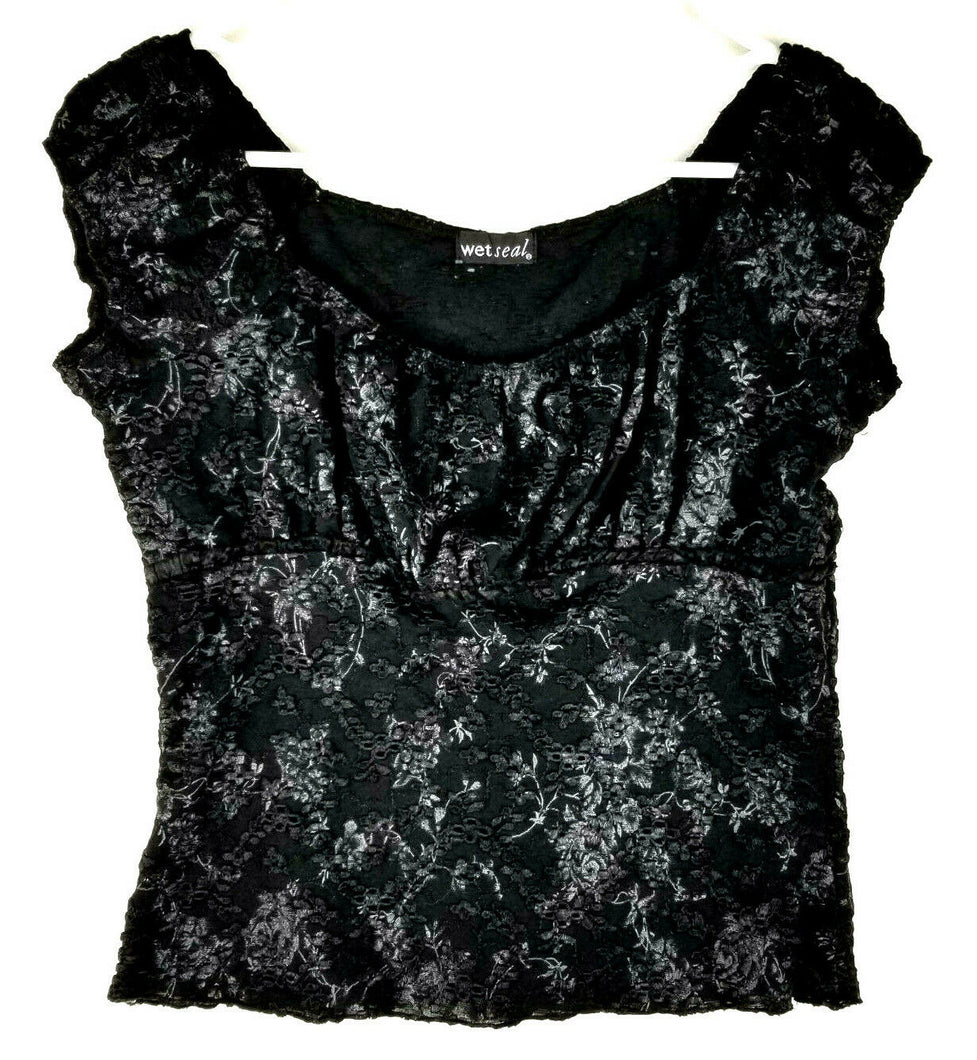 WetSeal Womens Short Top - Black - L - Stretchy Jersey Knit Floral - Cap Sleeve