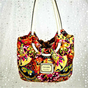Nicole Miller Hobo Multi-Color Floral Shoulder Bag Rolled Handle Large-Excellent