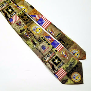 "Eagles Wings US Army Image Collage Silk Necktie 57""-New W/Tags"