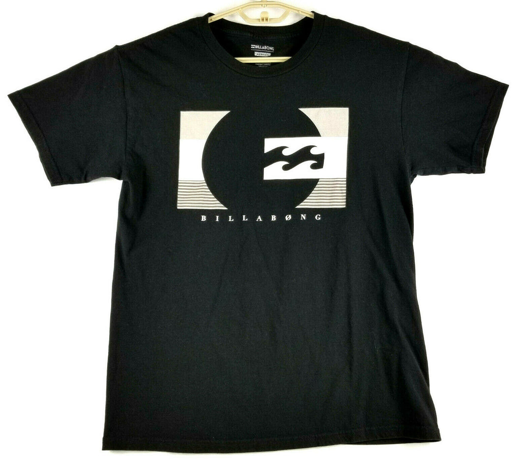 BILLABONG Mens SS Graphic T-shirt -Black w/White logo print - M -Cotton -Tagless