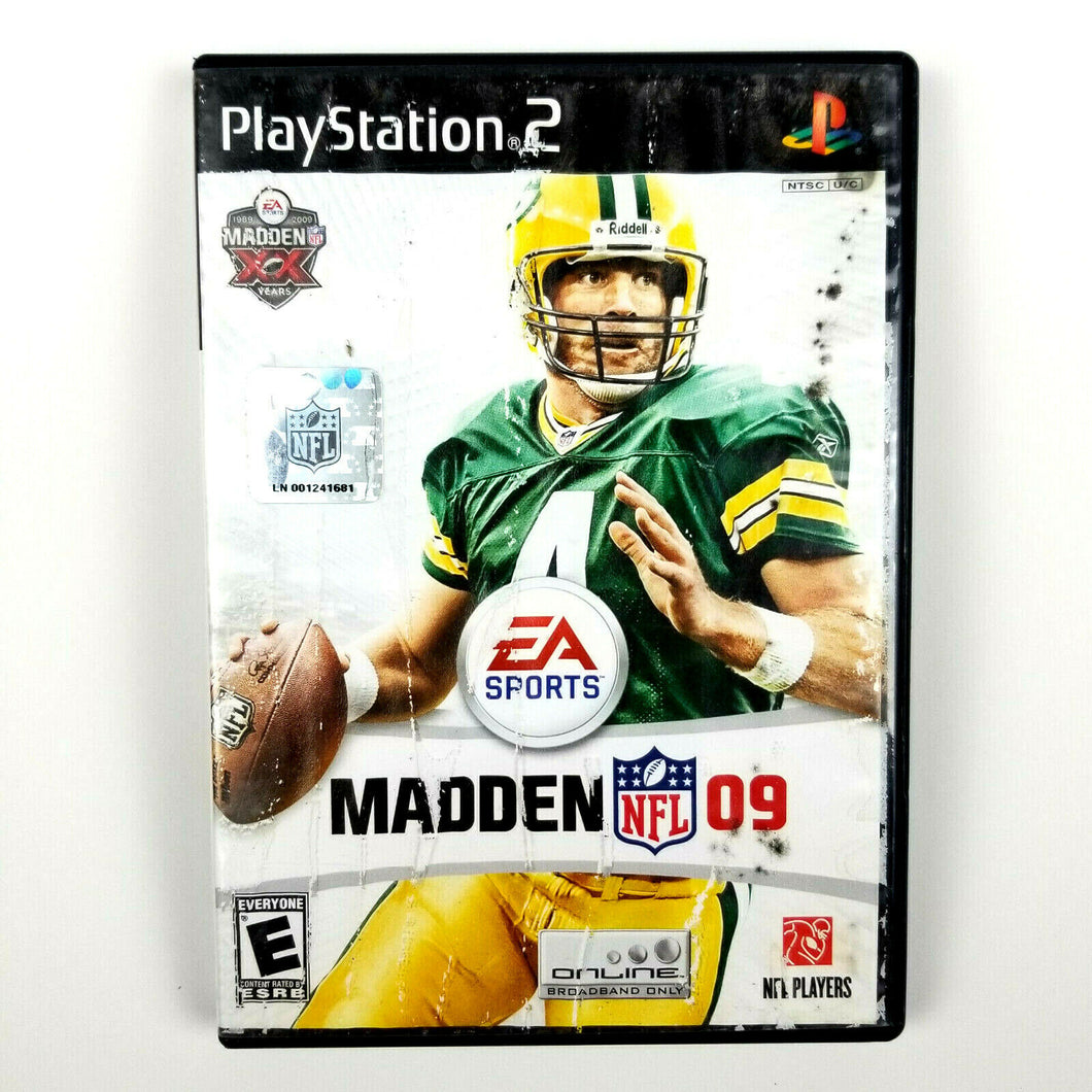 PS2 PlayStation 2 Madden NFL 09 Brett Favre on Cover - with Manual