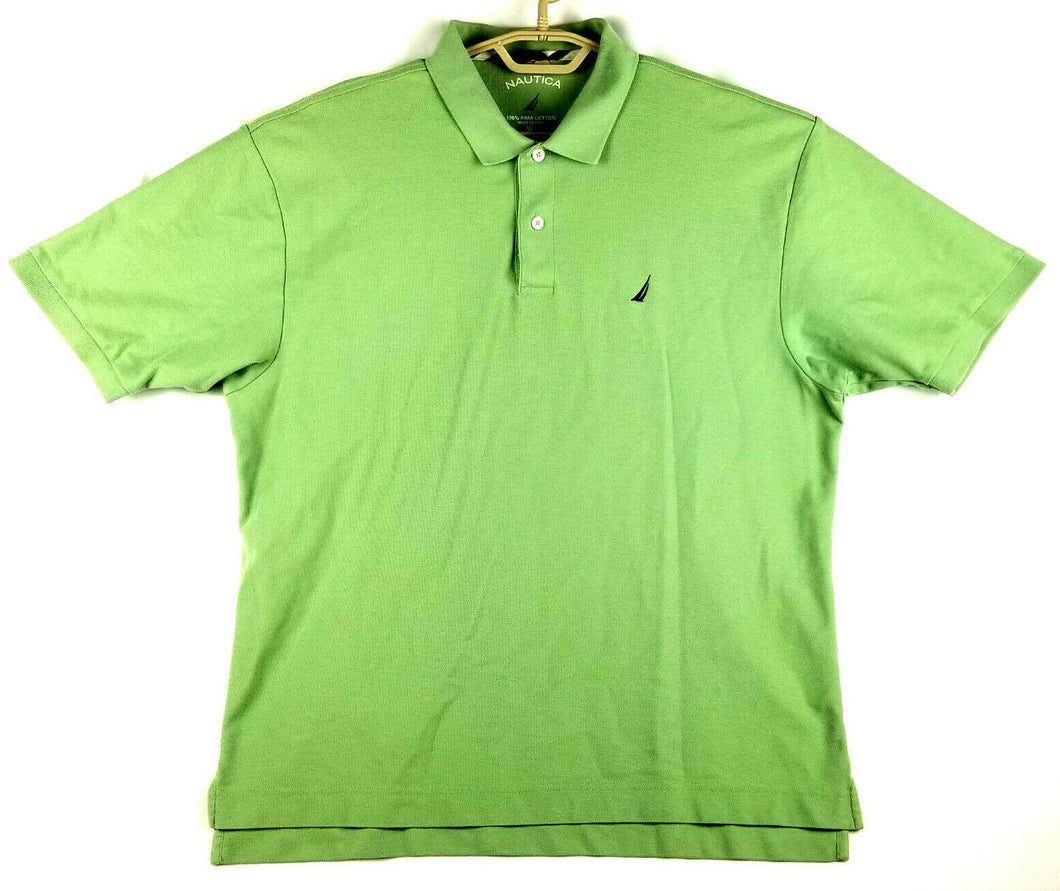 Nautica Mens Polo Golf Shirt - Lime Green - XL - Extended Tail - Pima Cotton