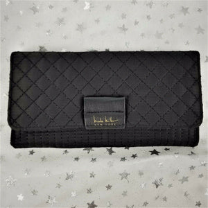 Nicole Miller NEW YORK Quilted Wallet Clutch Purse for Cards & Cash - Black