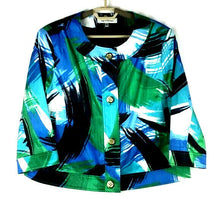 Harvé Benard Women's Button-Up Jacket - XL - Blue Green Black Abstract Pattern