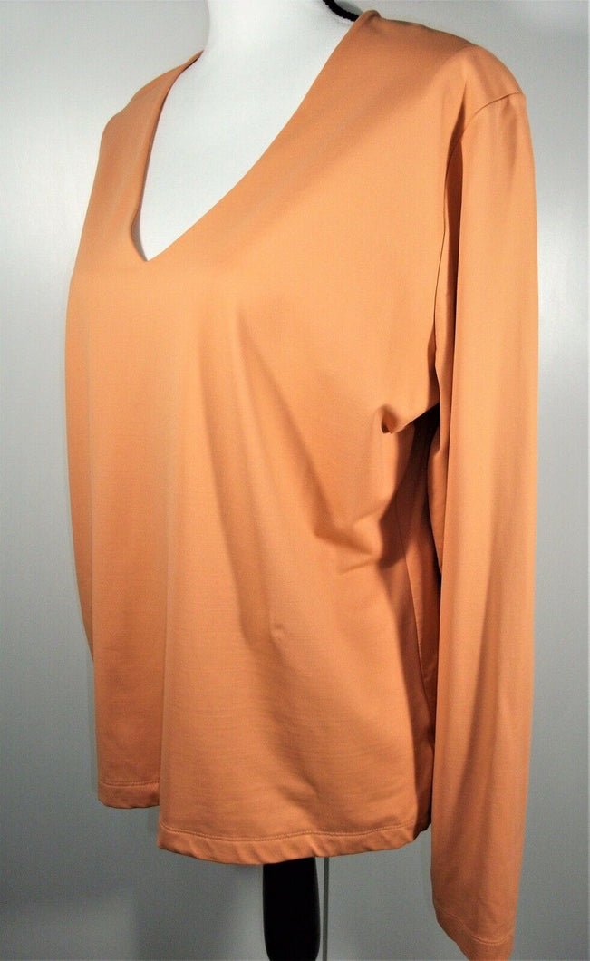 White Stag Womens Long Sleeve V-Neck Pullover Top - Orange - Sz 16/18