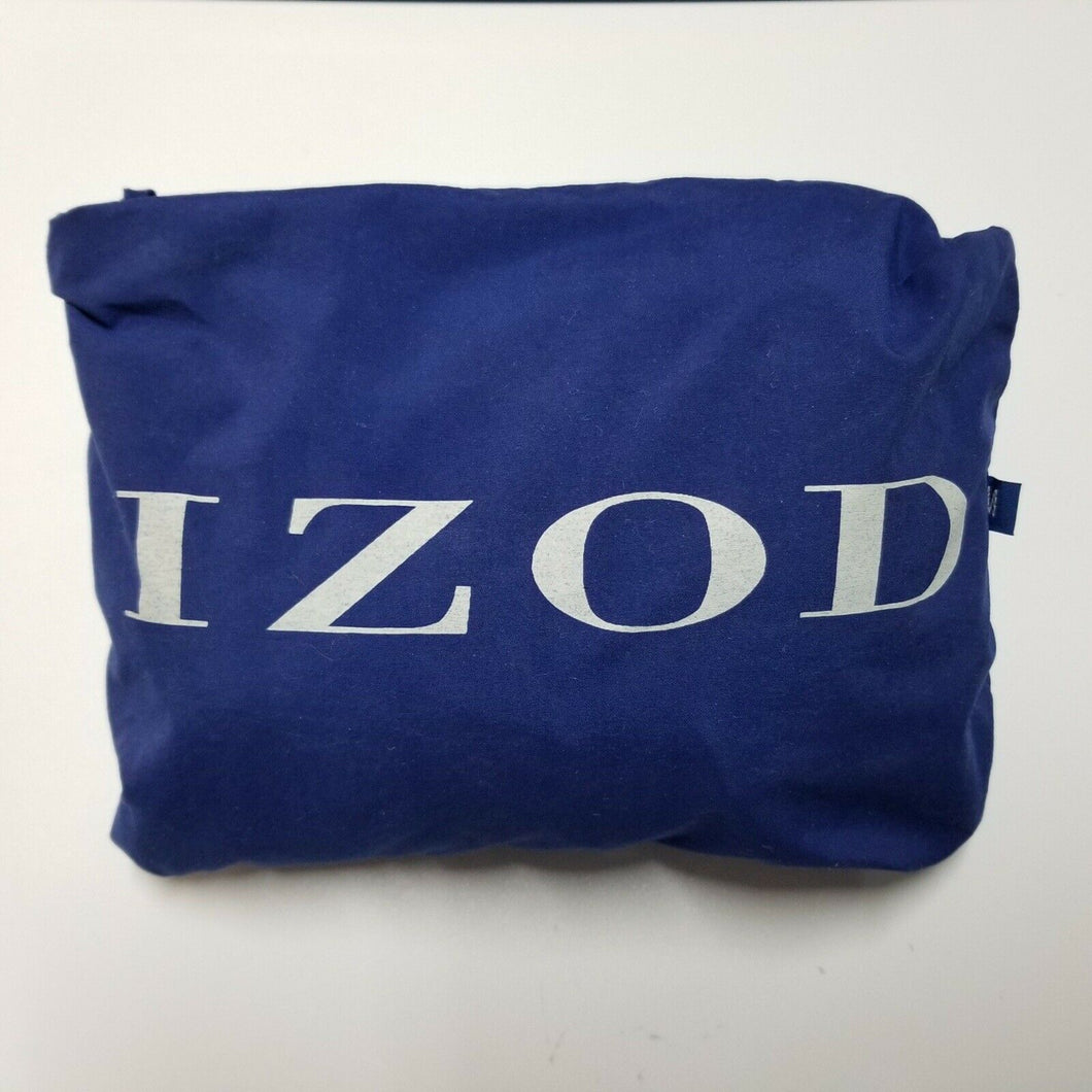 IZOD Mens V-Neck Windbreaker w/ Self-Contained Carrying Pouch - Blue - M