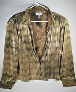 ELL JAY Collection Womens Jacket Long Sleeve Gold BLING Lightweight - Size 12